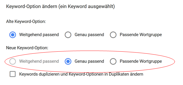 Adwords Keywordoptionen