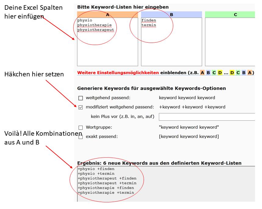 Keyword Kombinationen Tool