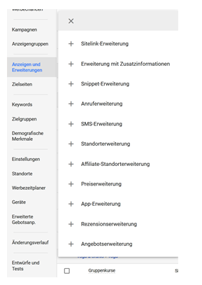 AdWords Anzeigenerweiterungen Dropdown Menü