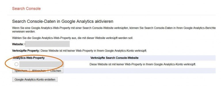 Search Console Property auswählen