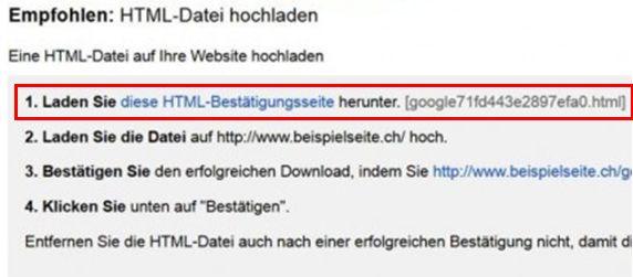 Search Console Bestätigung