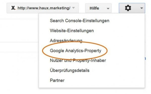 Search Console Analytics Verknüpfung