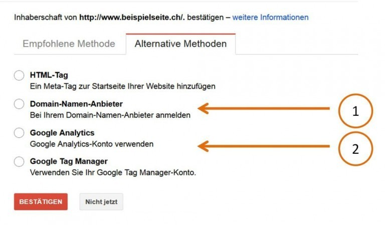 Search Console Inhaberschaft Alternative