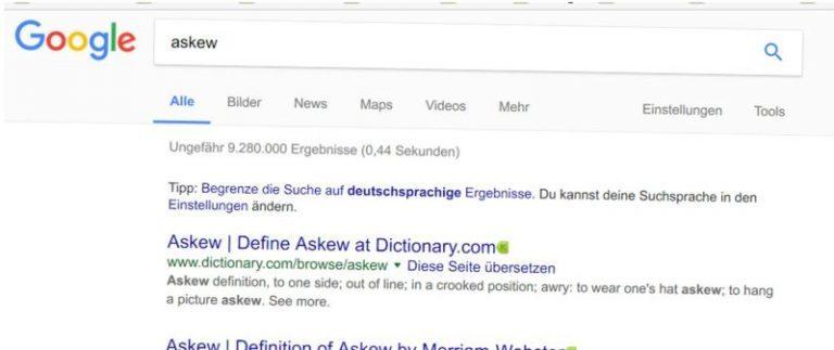 Google hängt schief