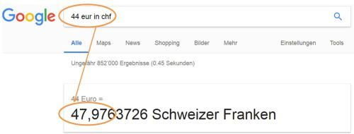Google Währungsrechner