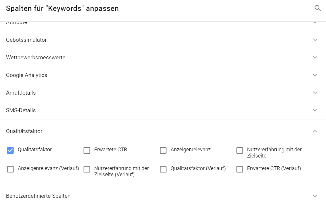 AdWords Qualitätsfaktor Spalte