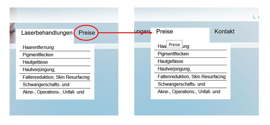 Aufbau und Struktur Webseite Navigation