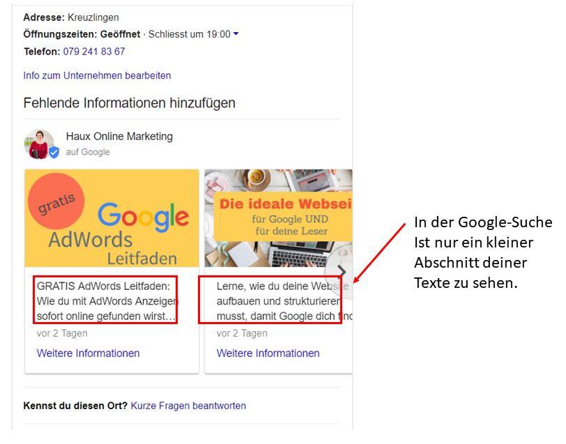 Google Beitrag in der Suche