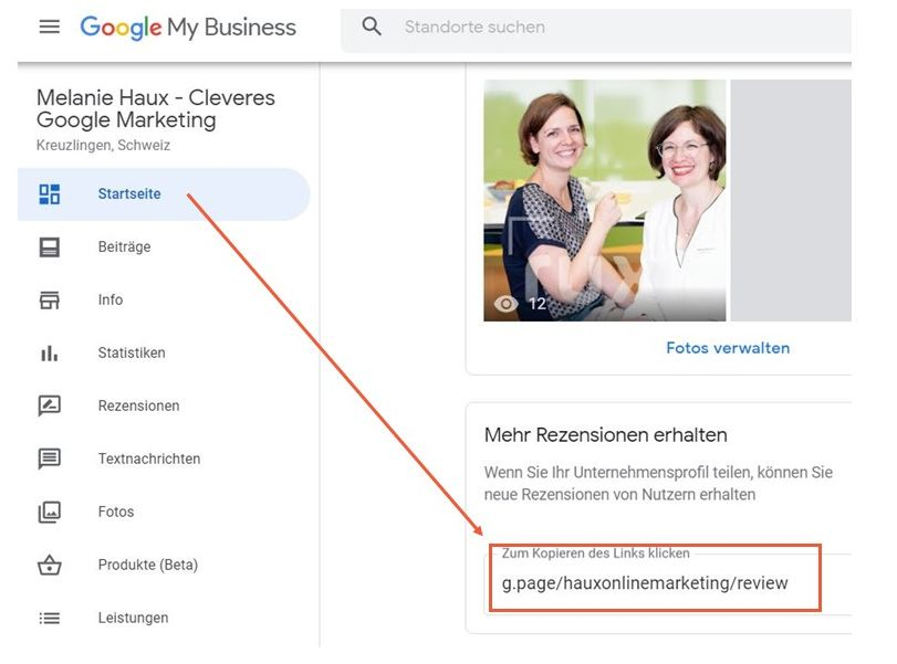 Google My Business Rezensionen Kurzlink