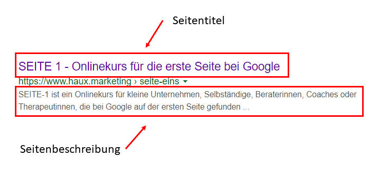 Snippet in der Google Suche