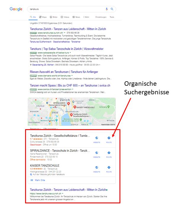 Google erste Seite Suchergebnisse