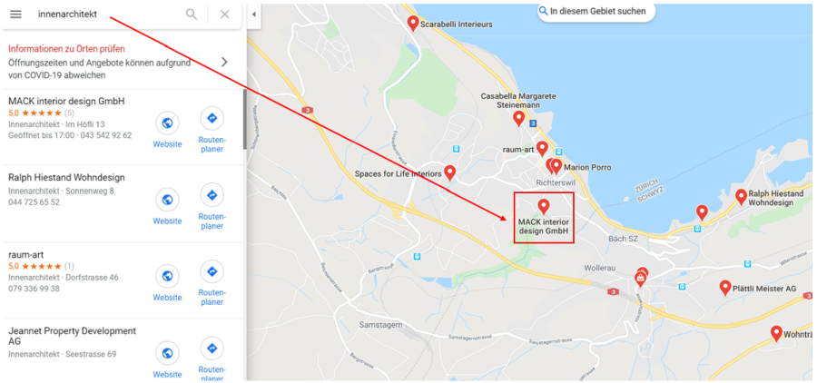 Google Maps Unternehmenssuche allgemein