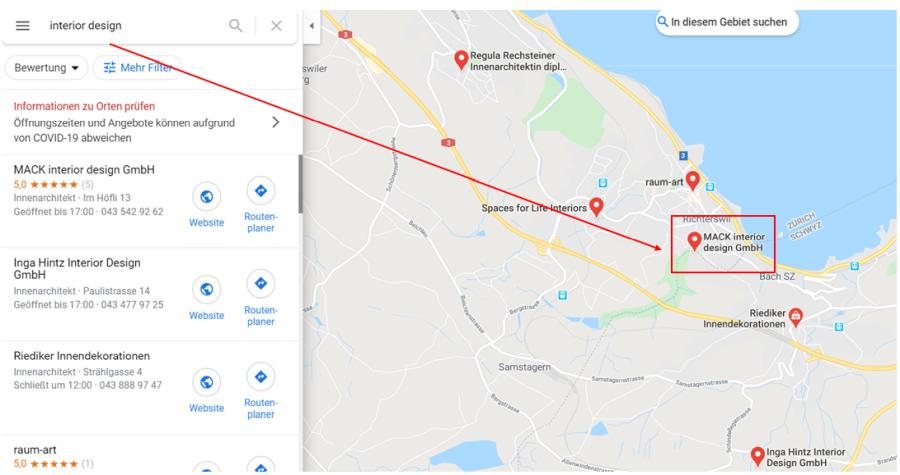 Google Maps Unternehmenssuche Beipsiel 03