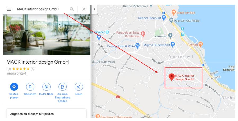 Google Maps direkte Unternehmenssuche